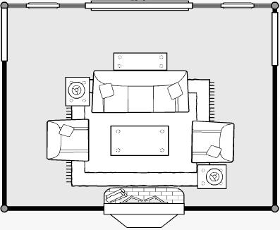 Furniture arrangement for Living room floor plan
